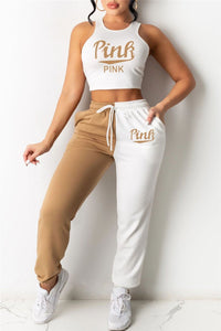 Letters Printed Crop Top with Color Splicing Pants Sets