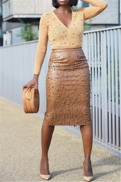 Pearl Studded PU Skirt - ezcute