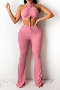 Drawstring Front Crop Top with Flared Pants Sets