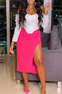 Off Shoulder White Shirt with Pink Split Skirt Two Piece Sets
