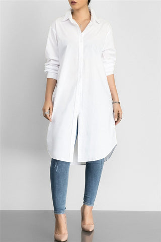 Solid Color Shirt Dress - ezcute