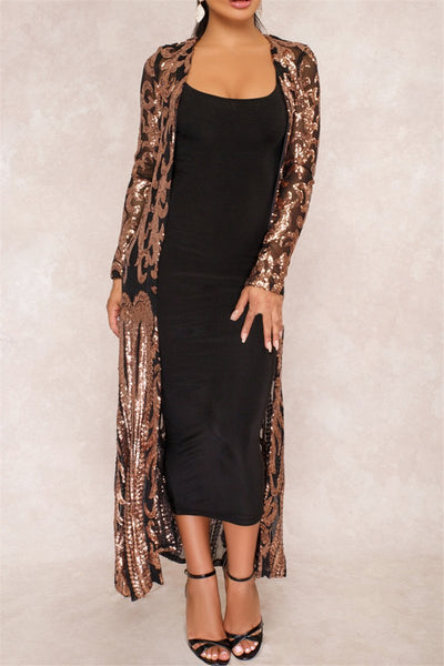Shinning Sequin Maxi Coat - ezcute