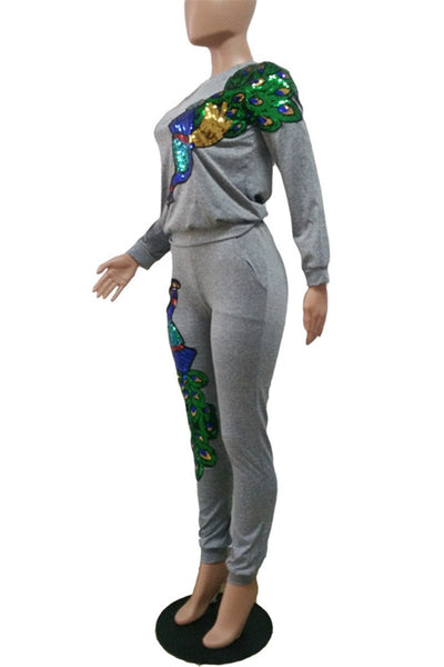 Sequin Peacock Sporty Sets - ezcute