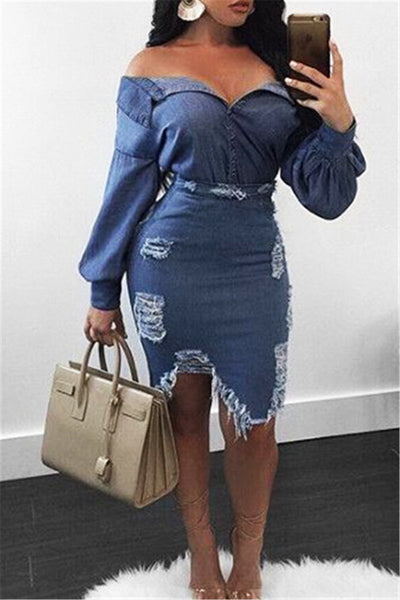 Denim Top & Distressed Skirt Sets - ezcute