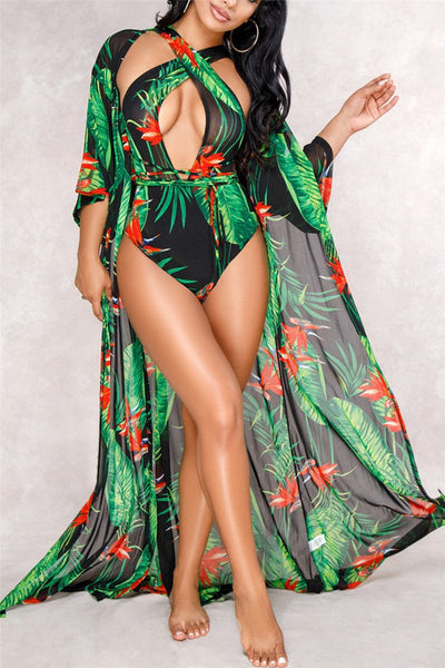 Printed One PC Swimwear&Cover Up - ezcute