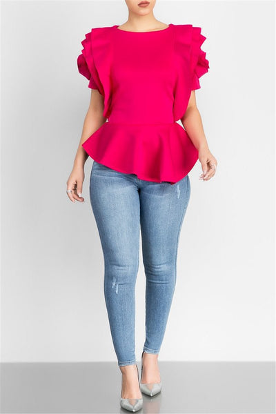 Ruffle Flower Shouder Top - ezcute