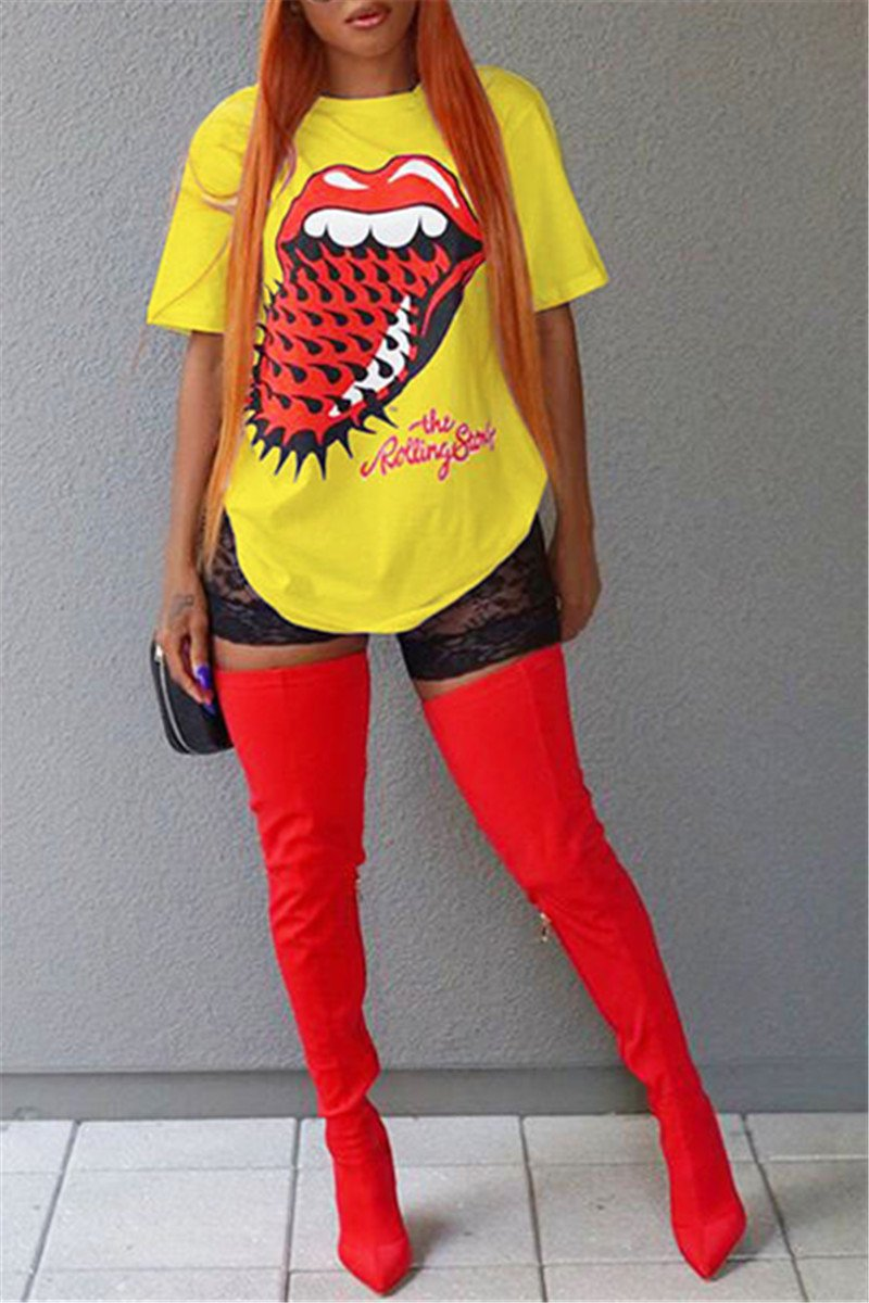 Red Lips Print T-Shirt - ezcute