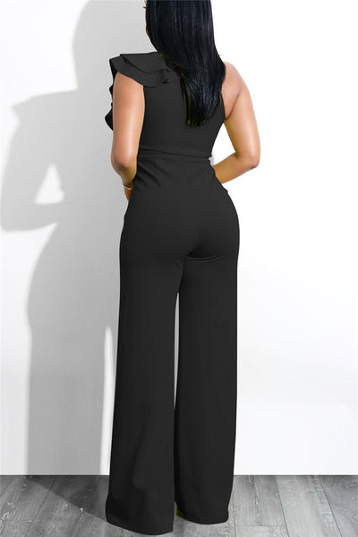 Slanted Double Layer Flounce Jumpsuit - ezcute