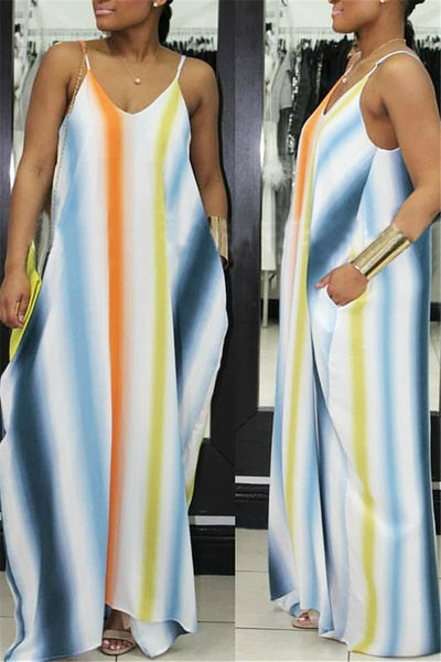 Pocketed Stripe Maxi Dress - ezcute