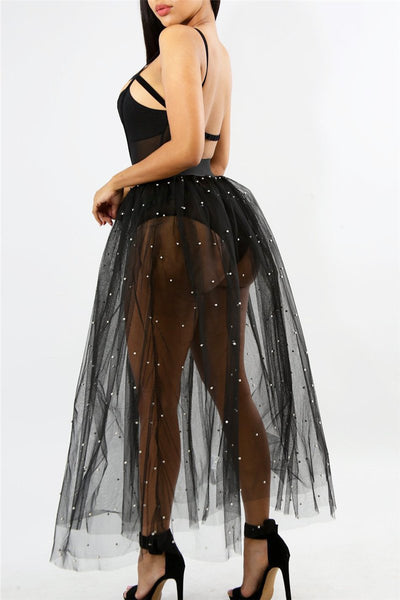 Pearl Studded Mesh Skirt - ezcute