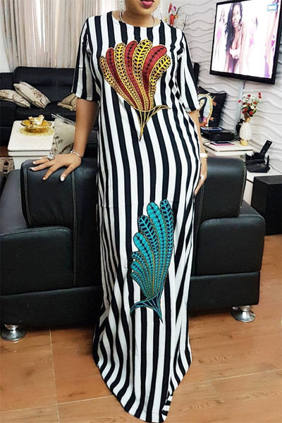 Feather Printed Strip Maxi Dress - ezcute
