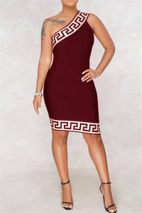 Slant Shoulder Bodycon Dress - ezcute