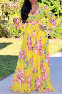 Printed Chiffon Belted Maxi Dress - ezcute