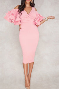 Ruffle Sleeve Bodycon Dress - ezcute
