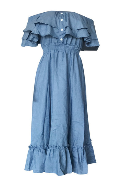 Off Shoulder Denim Midi Dress - ezcute