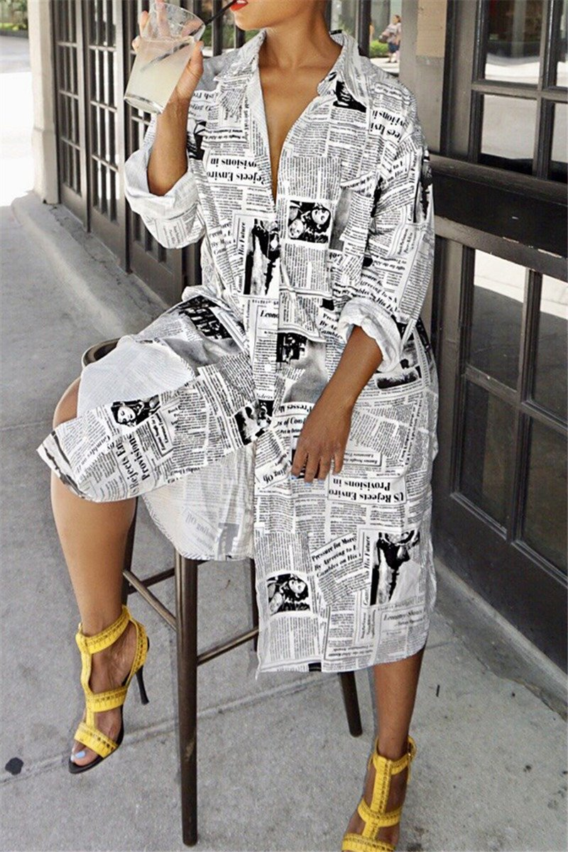 Newspaper Printed Shirt Dress - ezcute