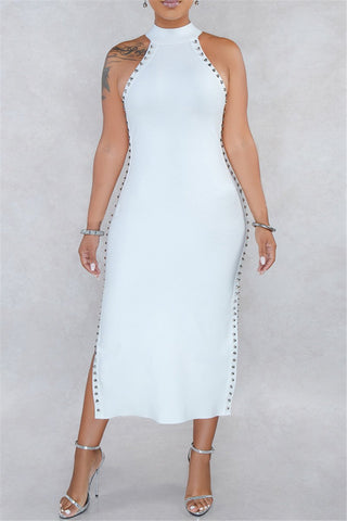 Solid Color Split Rivet Splicing Dress