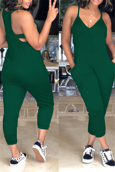 Pocketed Tank Top Jumpsuit - ezcute