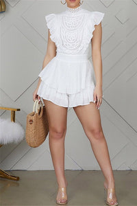 Ruffle Lace Splicing Romper