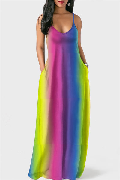 Rainbow Cami Maxi Dress - ezcute