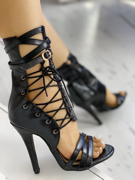 Stylish Lace-up Bandage Stiletto Pumps - ezcute