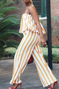 Off Shoulder Striped Jumpsuit - ezcute