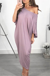 Bats Sleeve Maxi Dress - ezcute
