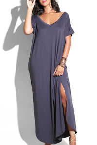 Split Plus Size Maxi Dress - ezcute