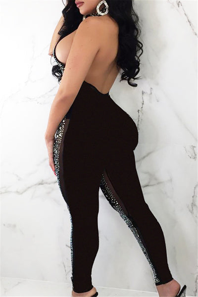 Shining Sequin Halted Backless Jumpsuit - ezcute