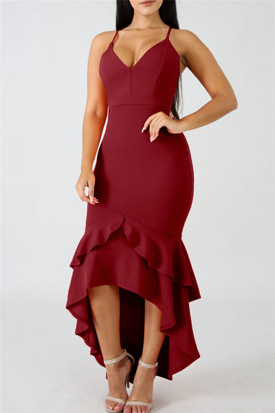 Irregular Flounce Hemline Midi Dress - ezcute