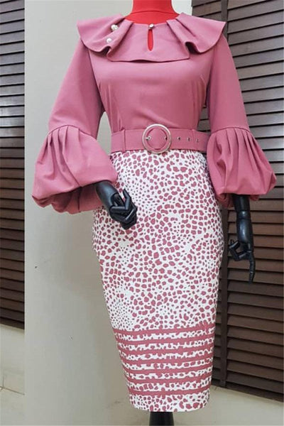 Polka Dot Lantern Sleeve Belted Dress