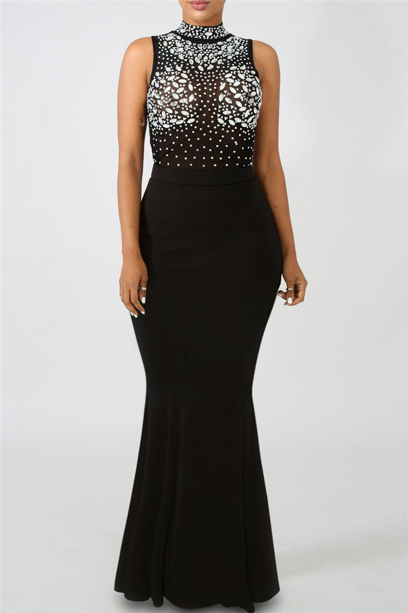 Diamond Studded Sheer Party Dress - ezcute