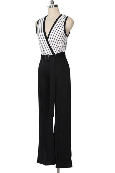 Striped Wide Leg Jumpsuit - ezcute
