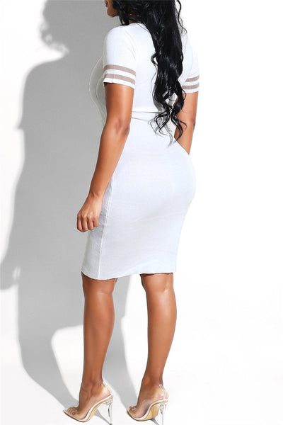 Letter Printed Mini Dress - ezcute