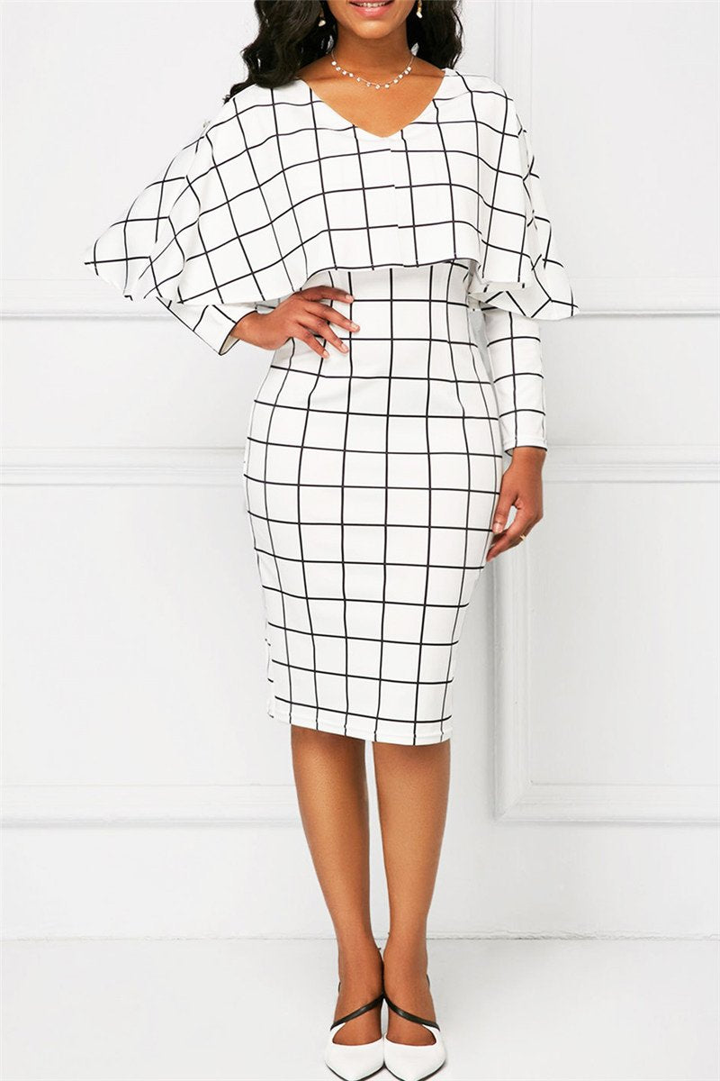 Lattice Printed Midi Cloak Dress - ezcute