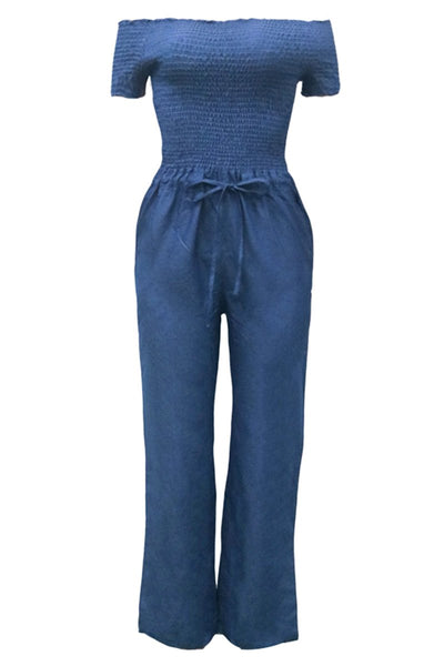Off Shoulder Denim Smocked Jumpsuit - ezcute
