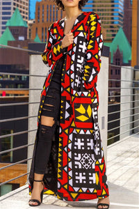 Printed Pocket Belted Maxi Coat - ezcute