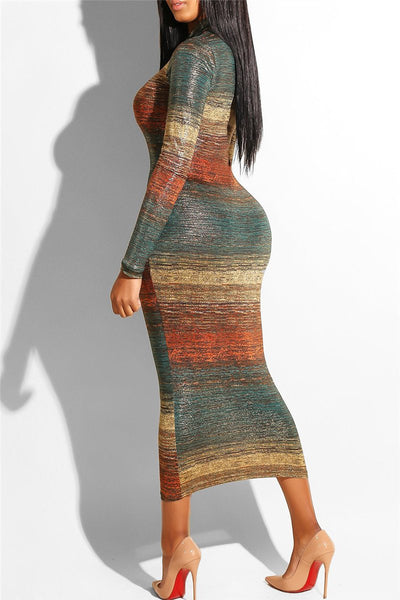 Color Changing Striped Midi Dress - ezcute