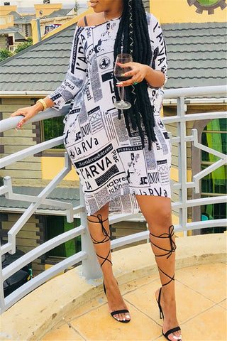 Newspaper Printed Casual Mini Dress - ezcute