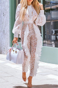 Lace Neck Wrapped Jumpsuit - ezcute