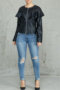 PU Flounce Zipper Jacket - ezcute