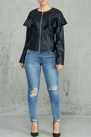 PU Flounce Zipper Jacket