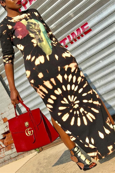 Printed Split Maxi Dress - ezcute