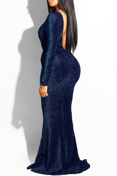 Hollowed Backless Maxi Party Dress - ezcute