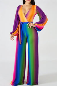 Rainbow Deep V Belted Jumpsuit - ezcute