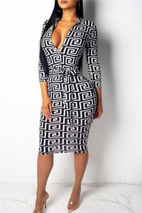 Printed Zipper Belted Midi Dress