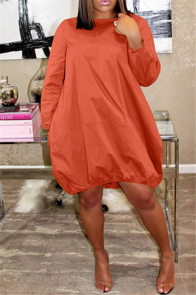 Solid Color Casual Mini Dress - ezcute