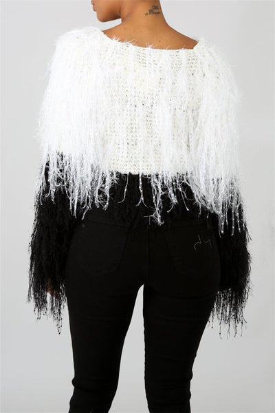 Knitted Tassel Sweater Top - ezcute