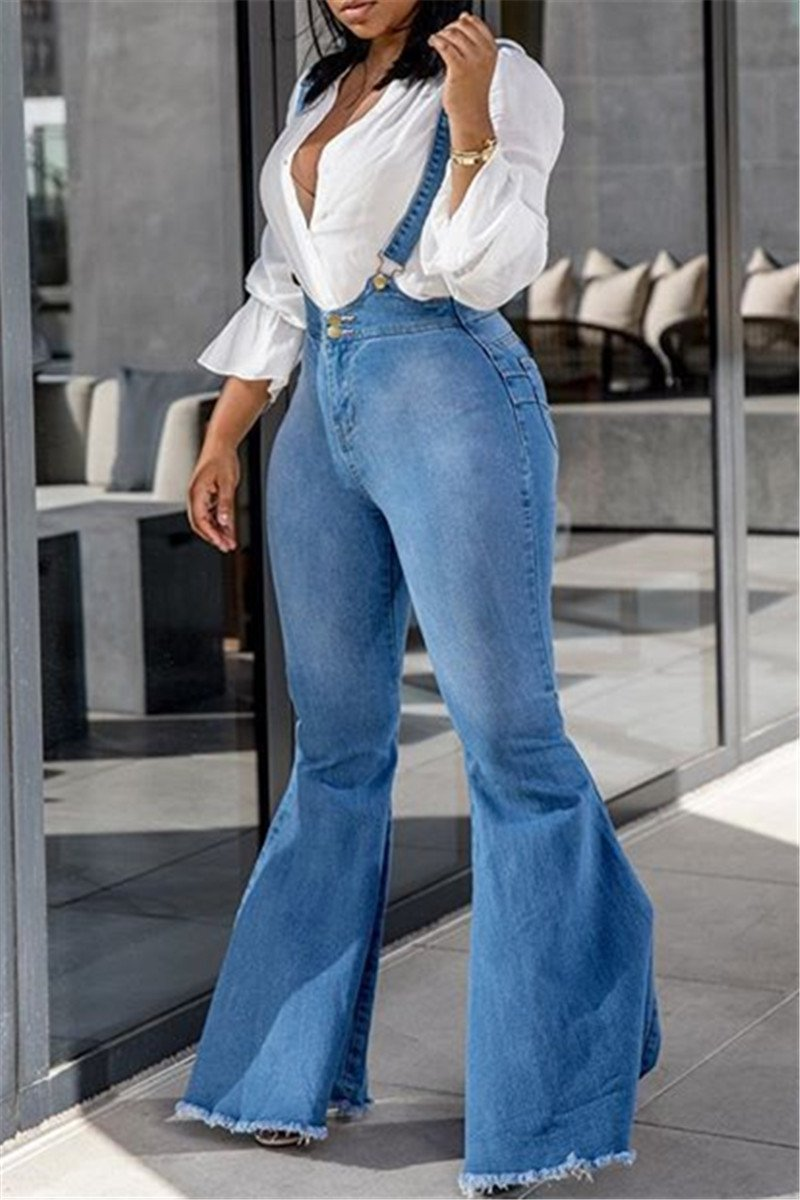 Casual Flares Denim Overall - ezcute