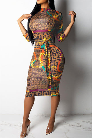 Printed Belted Midi Dress